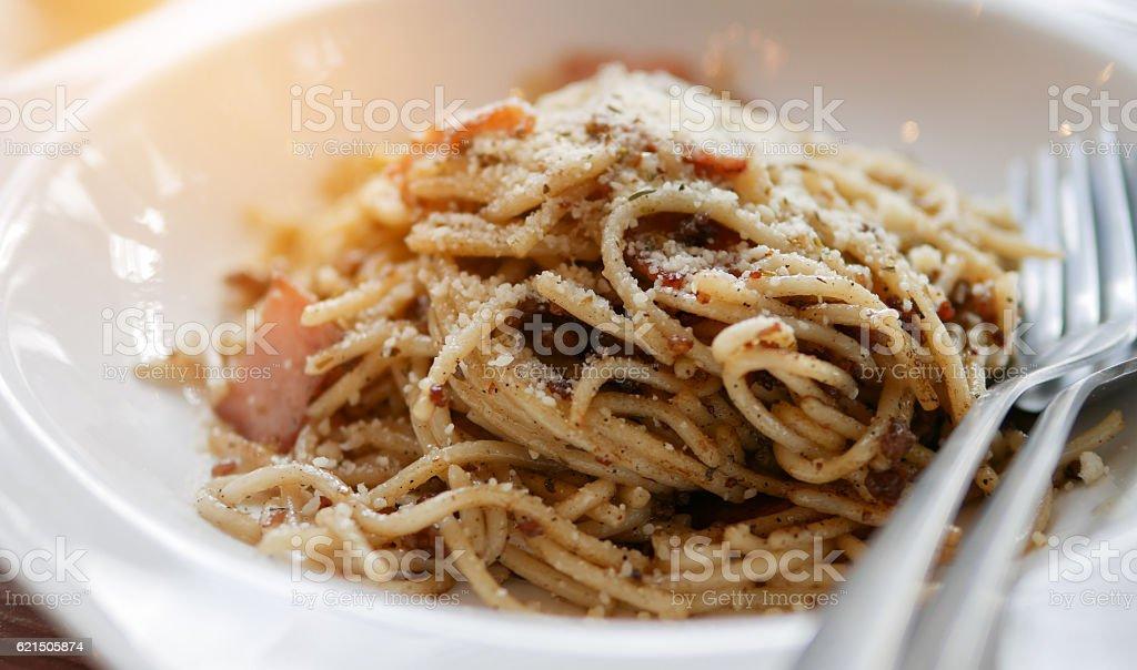 spaghetti carbonara with a bacon stock photo