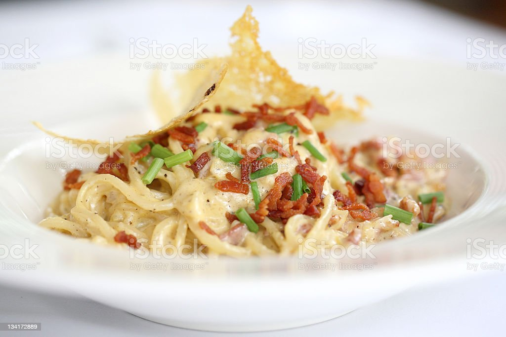 Spaghetti Carbonara with bacon and cheese royalty-free stock photo