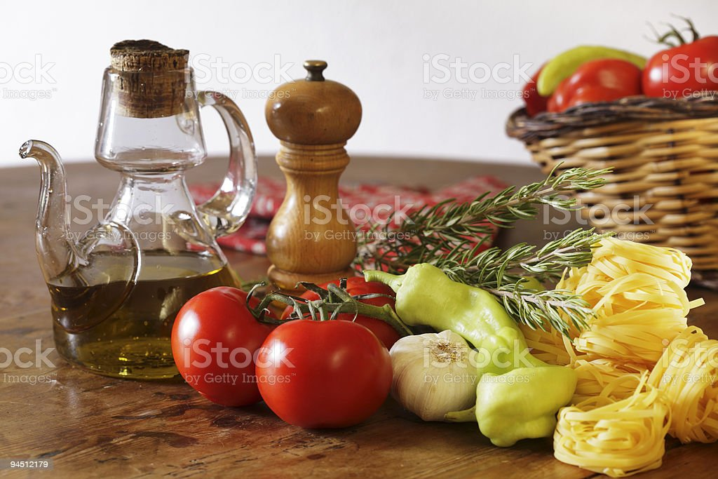 Spaghetti coking still life. royalty-free stock photo
