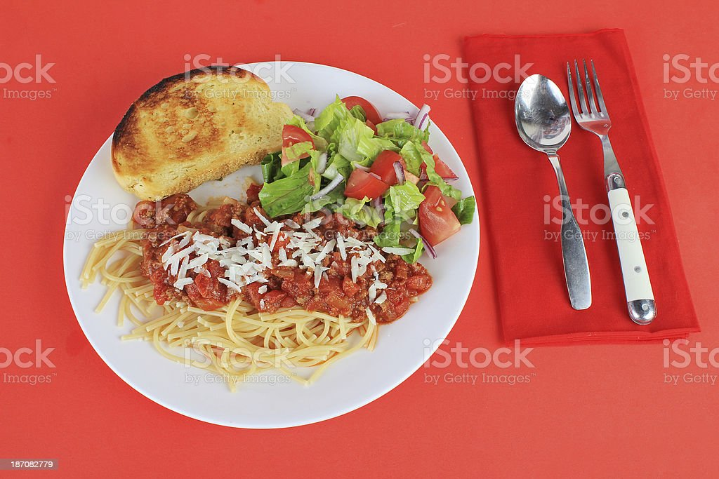 Spaghetti Dinner on Red royalty-free stock photo