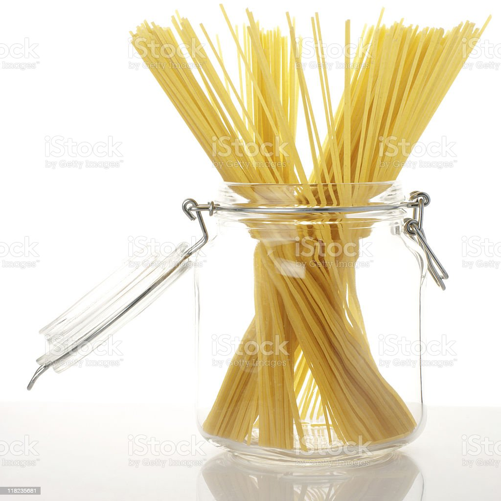 Spaghetti in jar royalty-free stock photo