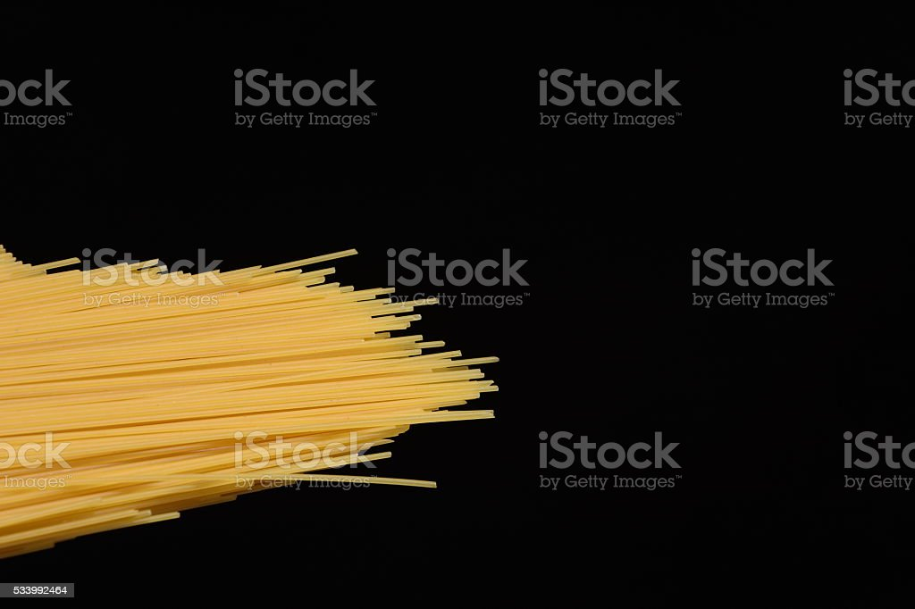 Spaghetti Isolated on black stock photo