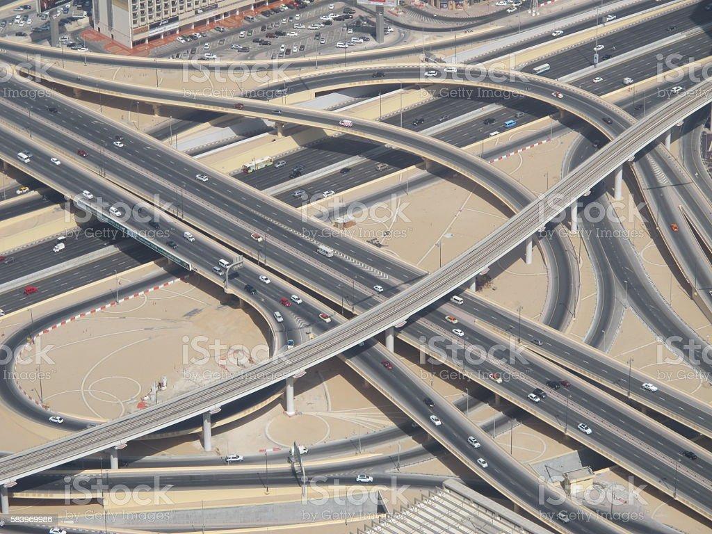 Spaghetti Junction, Dubai stock photo