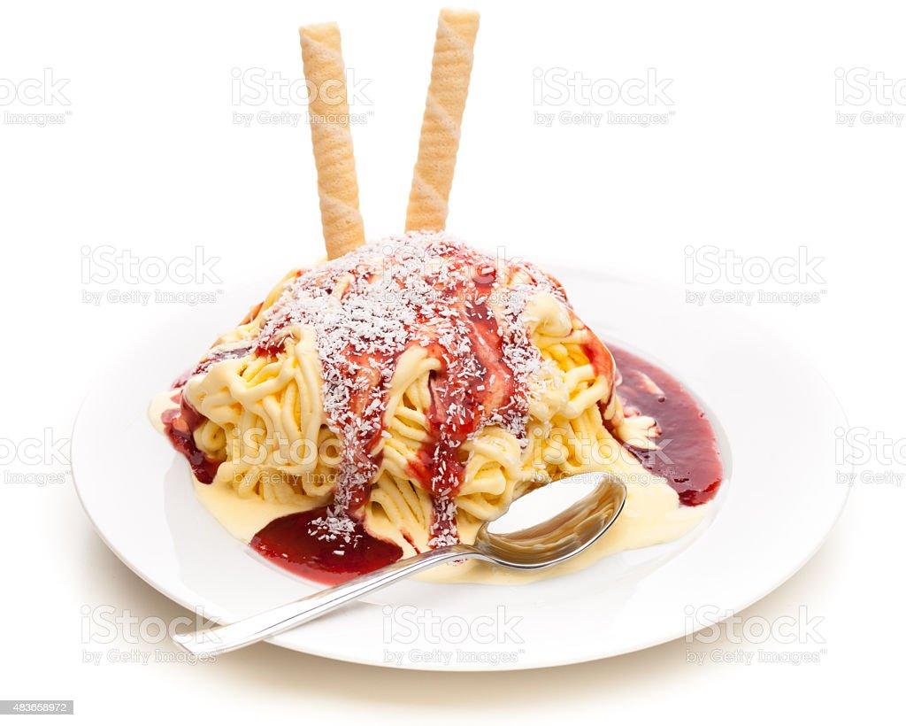 Spaghetti made out of ice cream stock photo