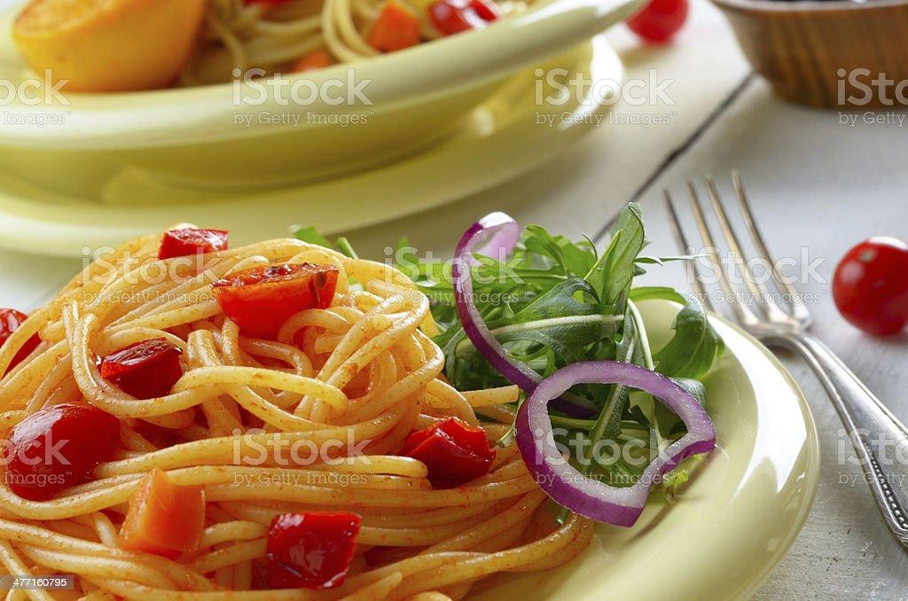 Spaghetti marinara pasta salad royalty-free stock photo