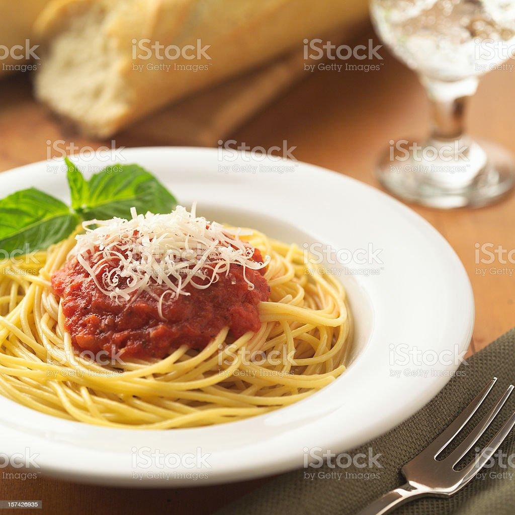 Spaghetti marinara with cheese. stock photo