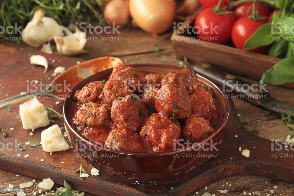 Spaghetti mealballs stock photo