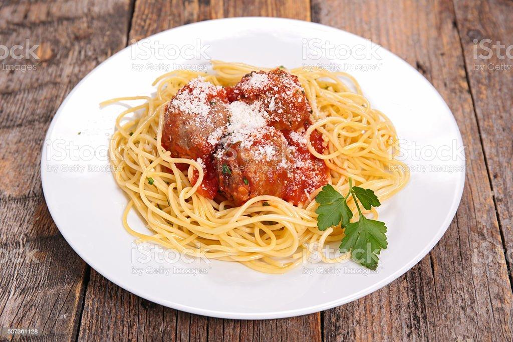 spaghetti, meatball and parmesan stock photo