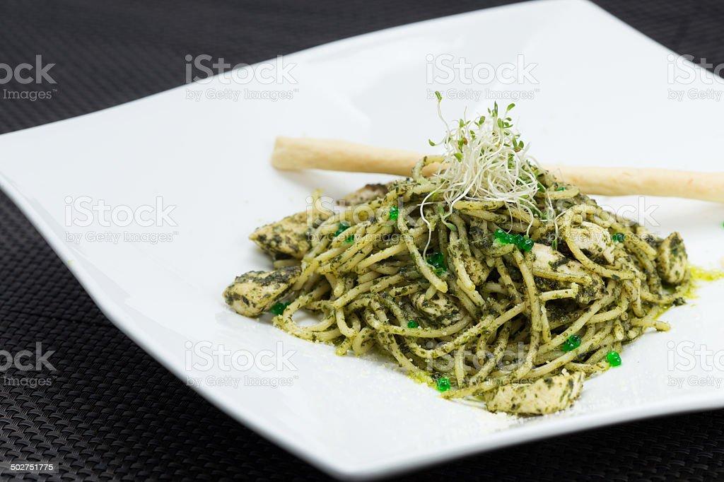 Spaghetti Mint Pesto stock photo
