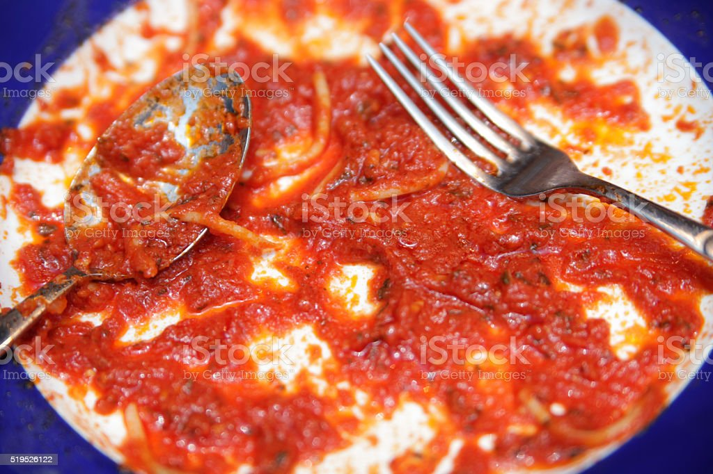 Spaghetti Napoli - leftovers stock photo