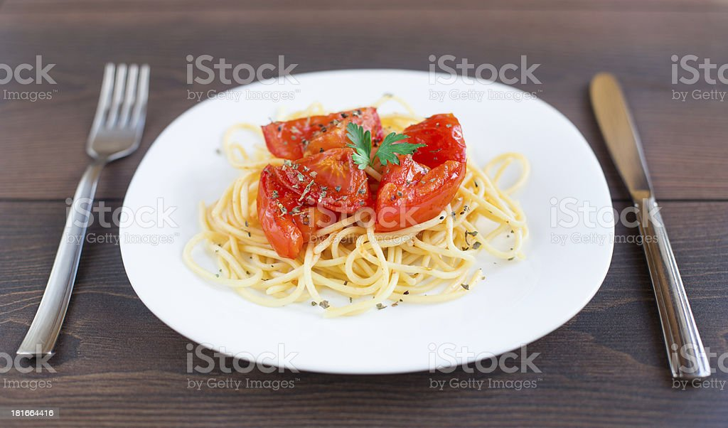Spaghetti on a plate royalty-free stock photo