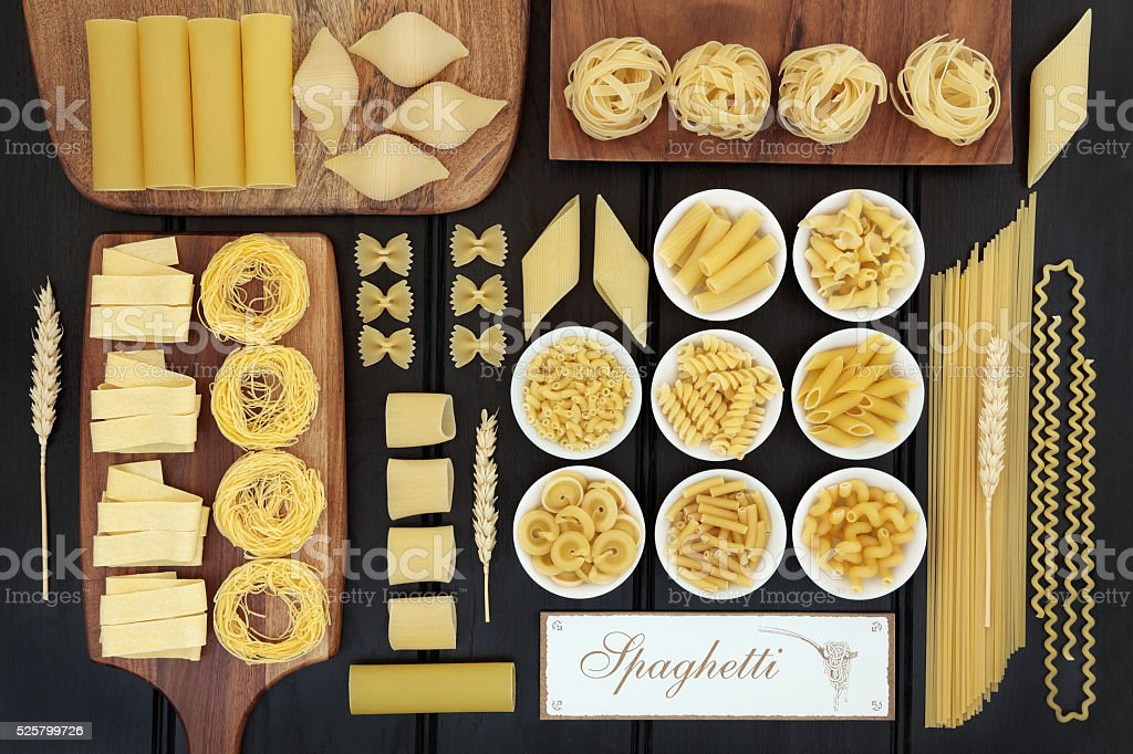 Spaghetti Pasta Dried Food Sampler stock photo