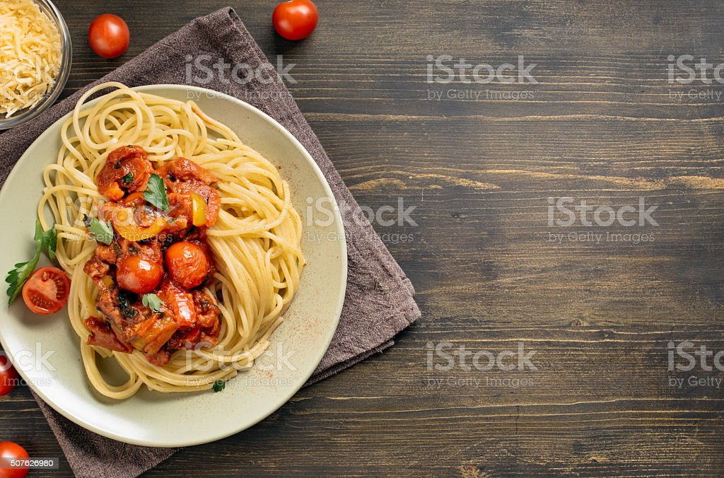 Spaghetti pasta on table with copy space stock photo