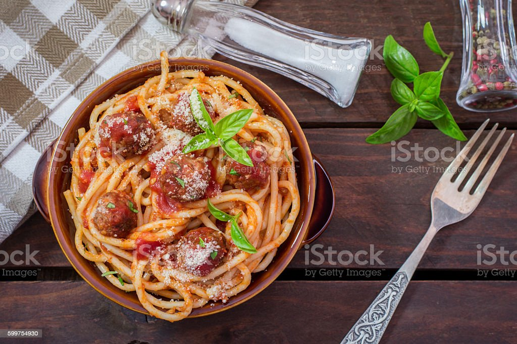 Spaghetti Pasta With Meatballs and Tomato Sauce stock photo