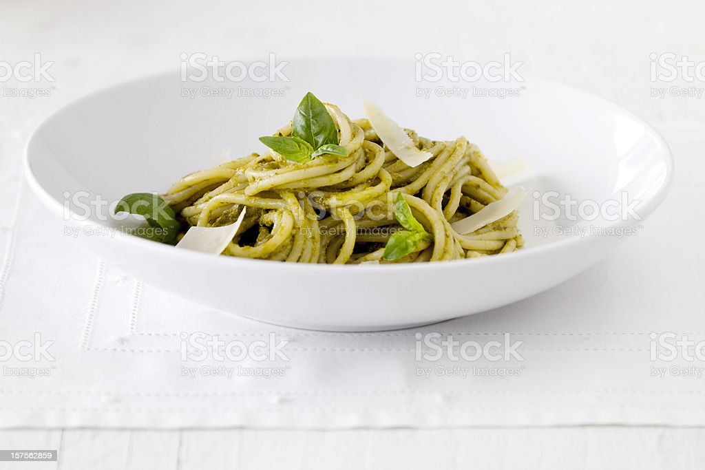 Spaghetti Pasta with Pesto Sauce royalty-free stock photo