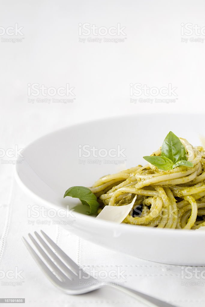 Spaghetti Pasta with Pesto Sauce stock photo