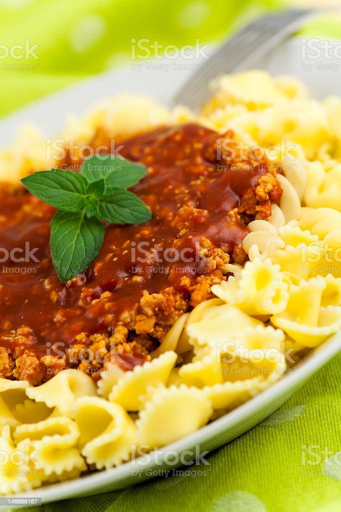Spaghetti - pasta with tomato and oregano royalty-free stock photo