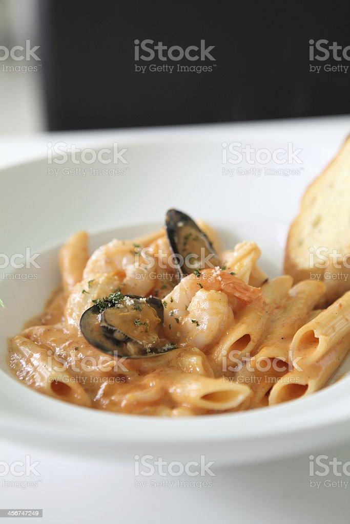 Spaghetti Penne with seafood stock photo