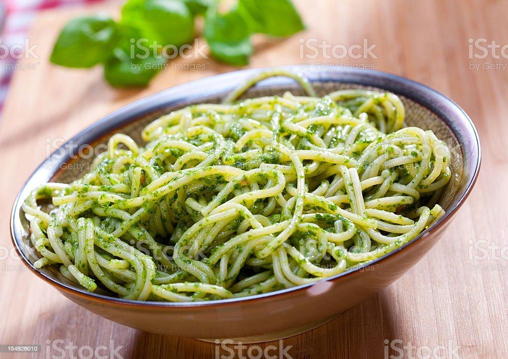 Spaghetti pesto stock photo