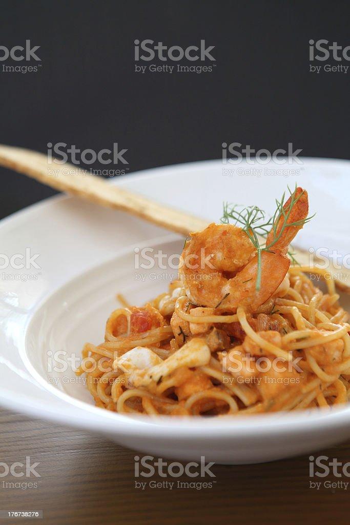 Spaghetti seafood royalty-free stock photo
