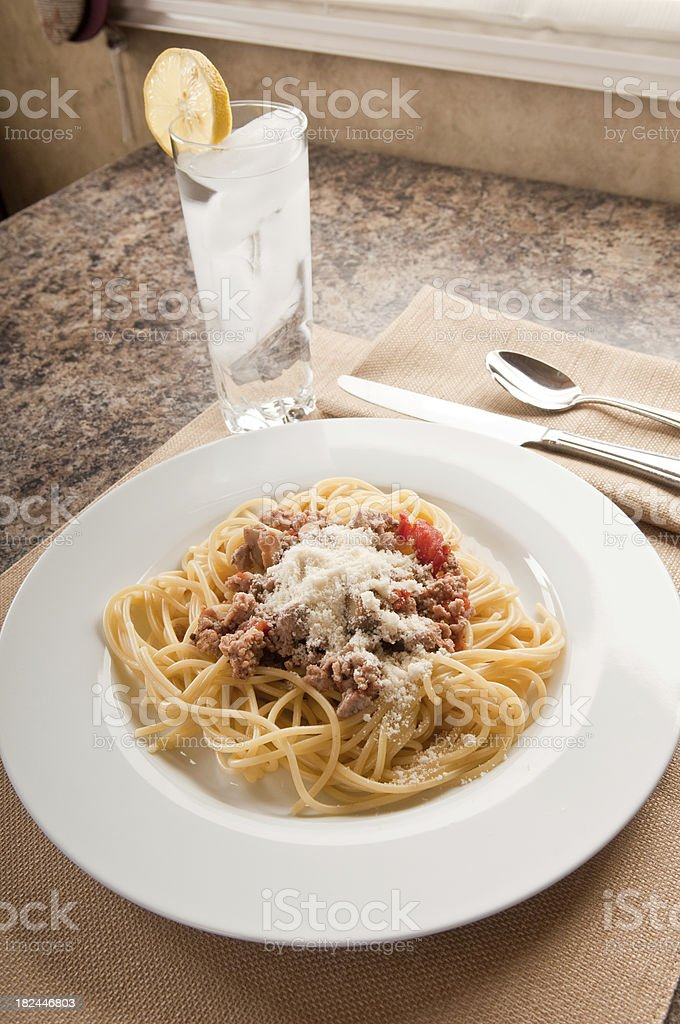 Spaghetti served up ready to eat stock photo