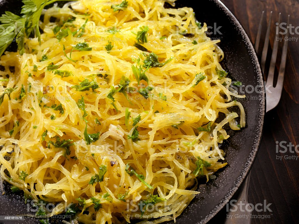 Spaghetti Squash with Garlic Herb Butter stock photo