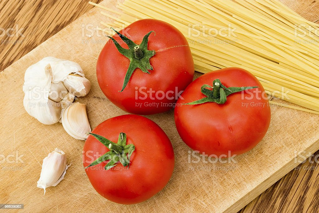 spaghetti tomato and garlic stock photo