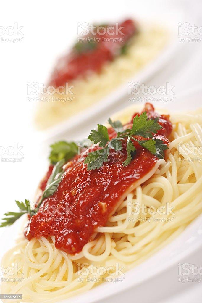 Spaghetti tomato sauce royalty-free stock photo