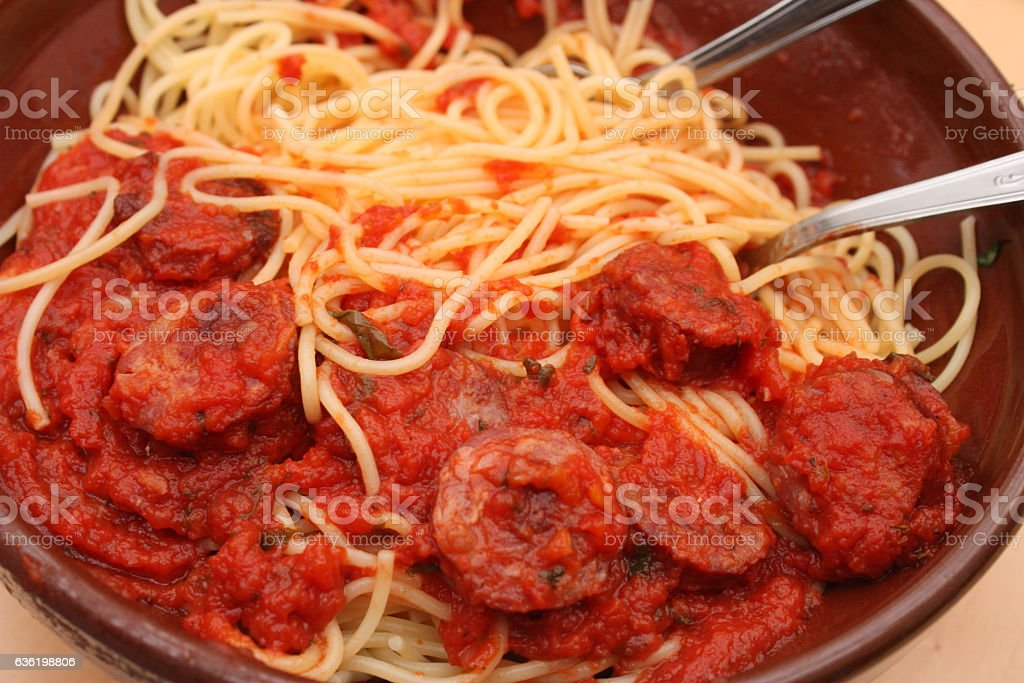 Spaghetti sauce tomate - Saucisse stock photo