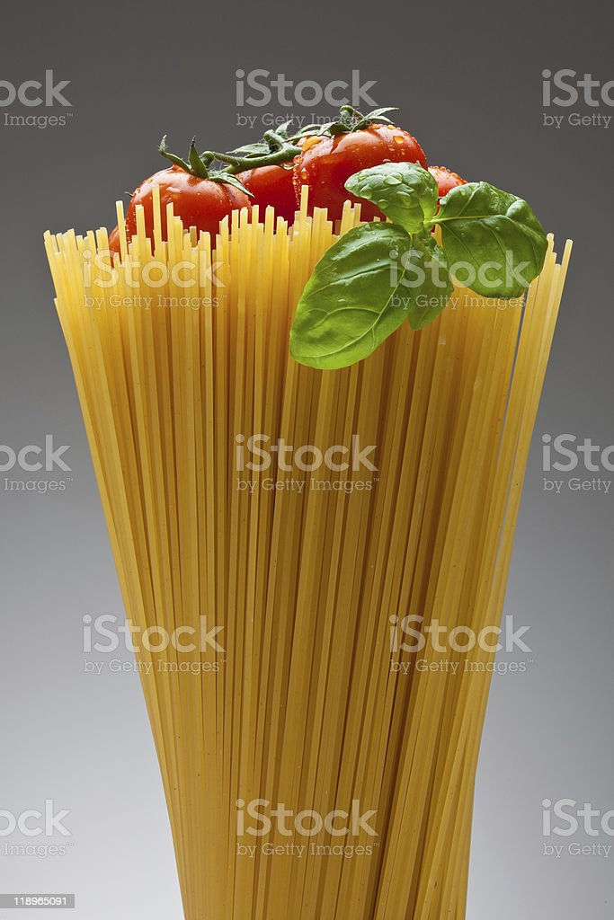 Spaghetti, tomatoes and basil royalty-free stock photo