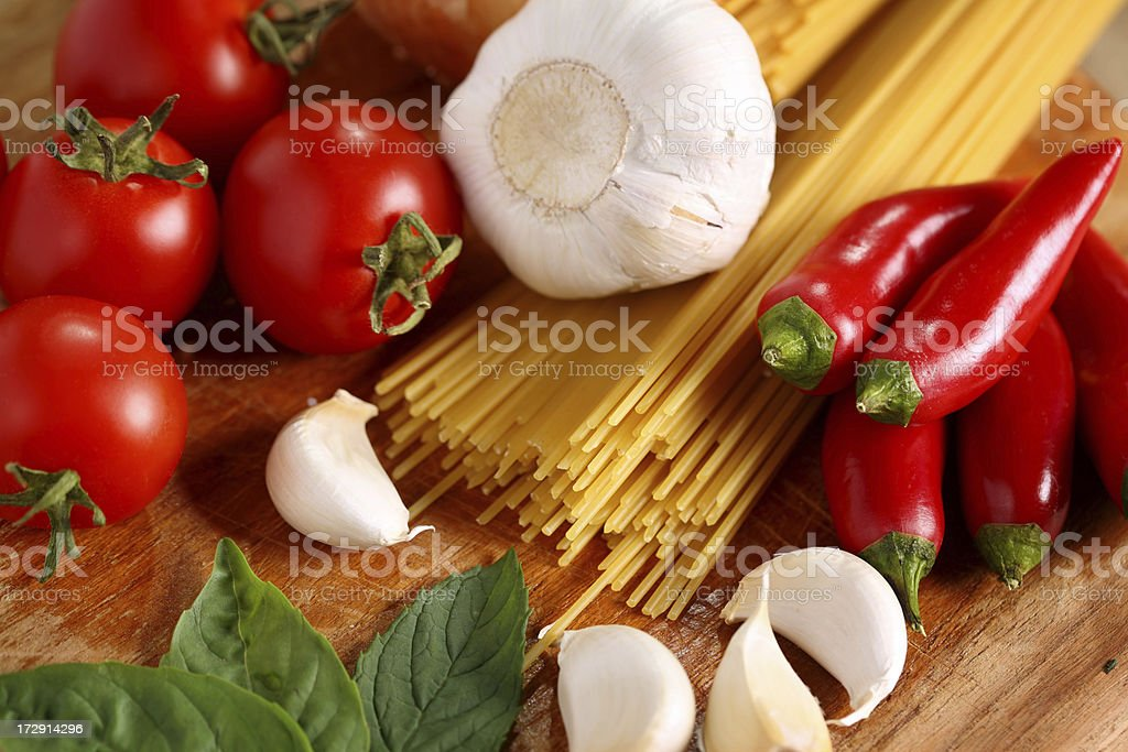 spaghetti & vegetables royalty-free stock photo