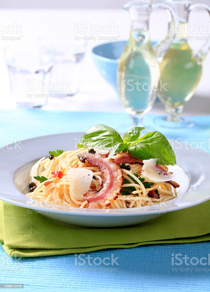 Spaghetti with bacon and Parmesan royalty-free stock photo
