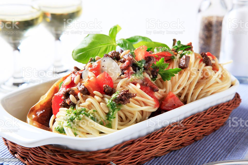 Spaghetti with beef and tomato sauce stock photo