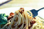 Spaghetti with Bolognese Sauce Parmesan and basil