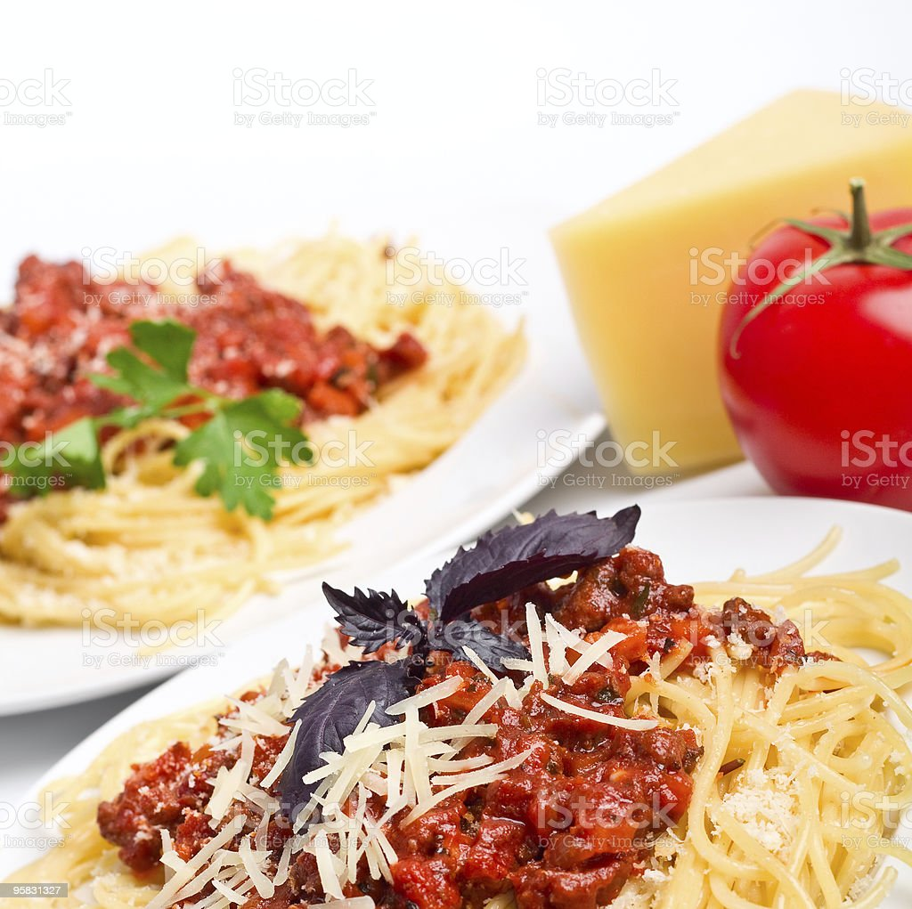 spaghetti with bolognese sauce royalty-free stock photo