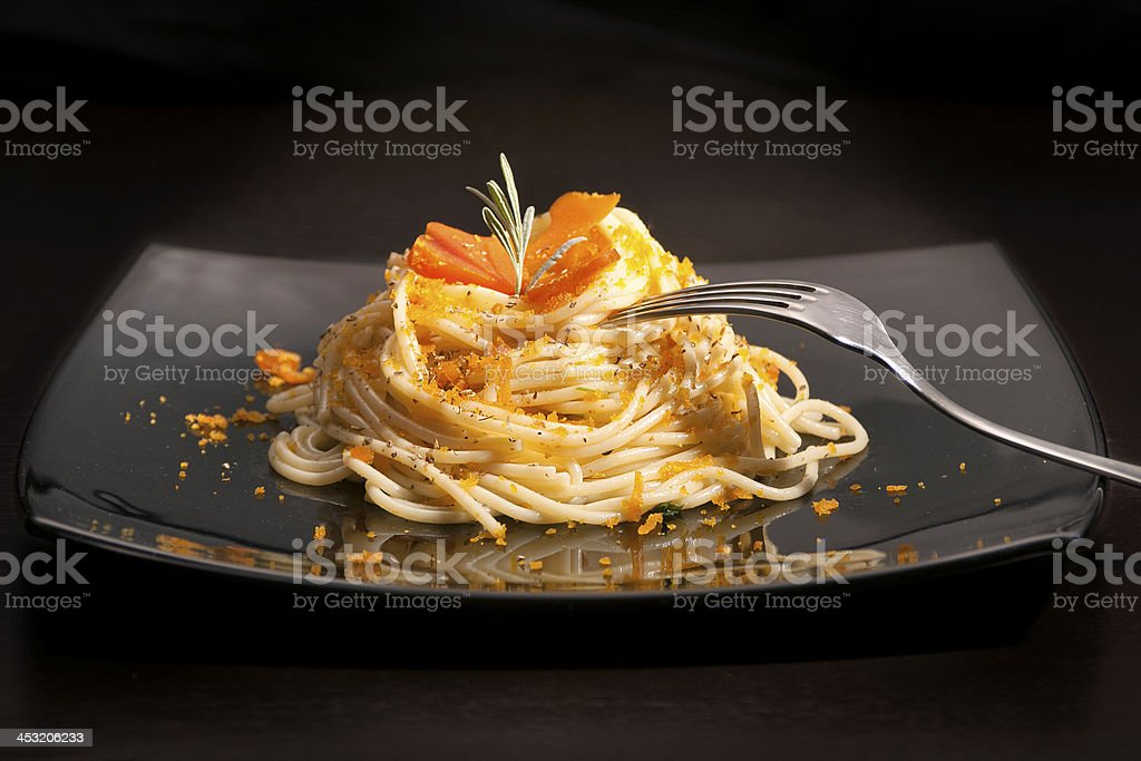 Spaghetti with bottarga stock photo