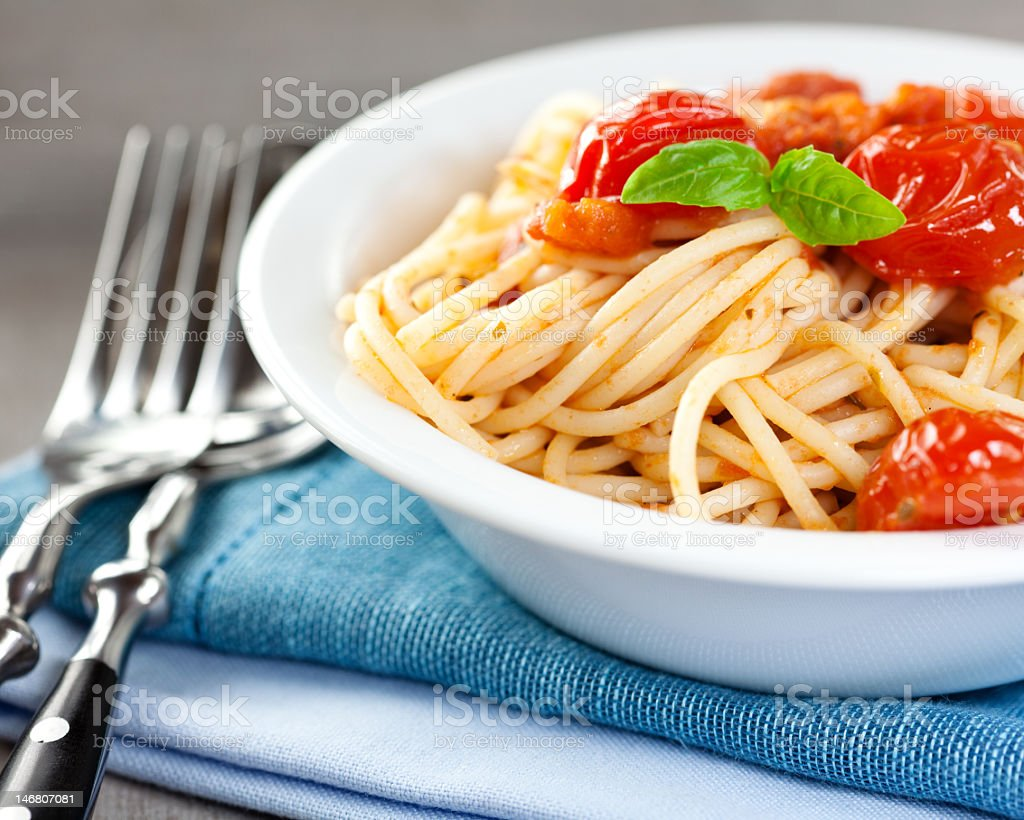 Spaghetti with cherry tomatoes royalty-free stock photo