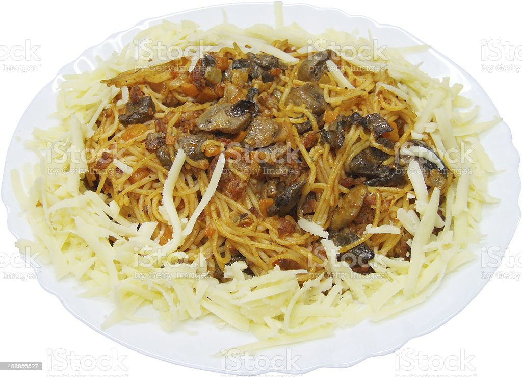 Spaghetti with chicken meal, mushrooms and bolognese sauce royalty-free stock photo