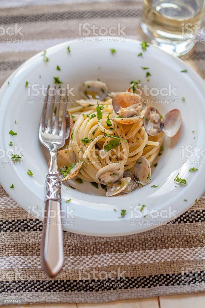 Spaghetti With Clams stock photo