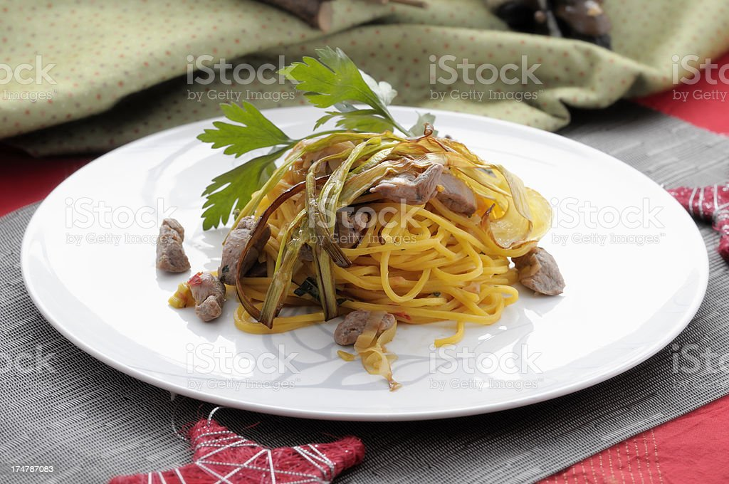 Spaghetti with duck ragout royalty-free stock photo