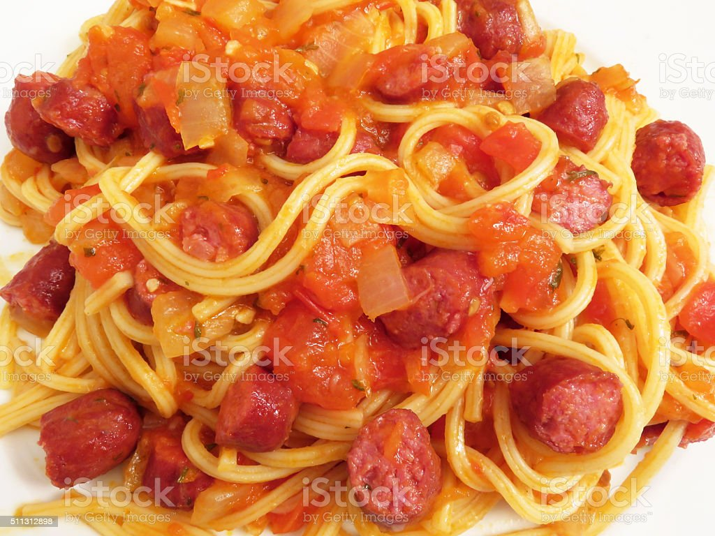 Spaghetti With Hot Dogs stock photo