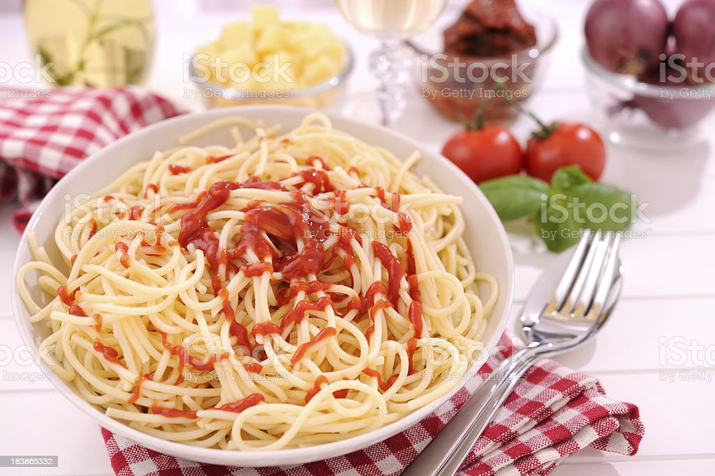Spaghetti With Ketchup royalty-free stock photo