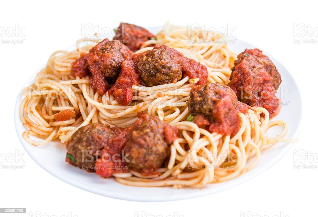 Spaghetti with Meatballs and Tomato Sauce (isolated on white) stock photo