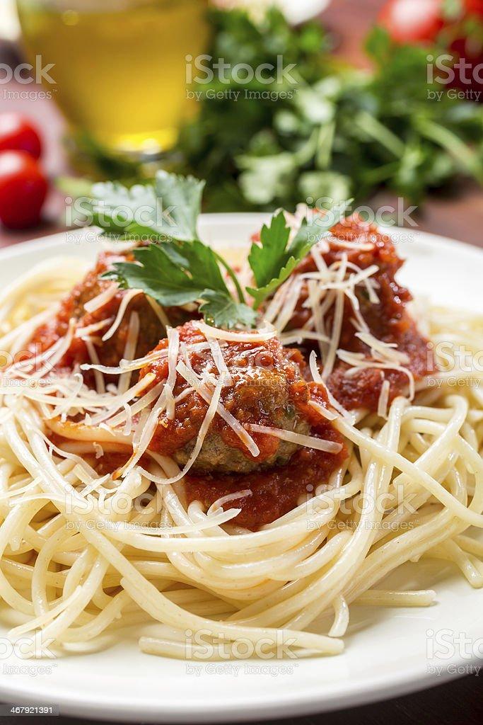 Spaghetti with Meatballs in Tomato Sauce stock photo