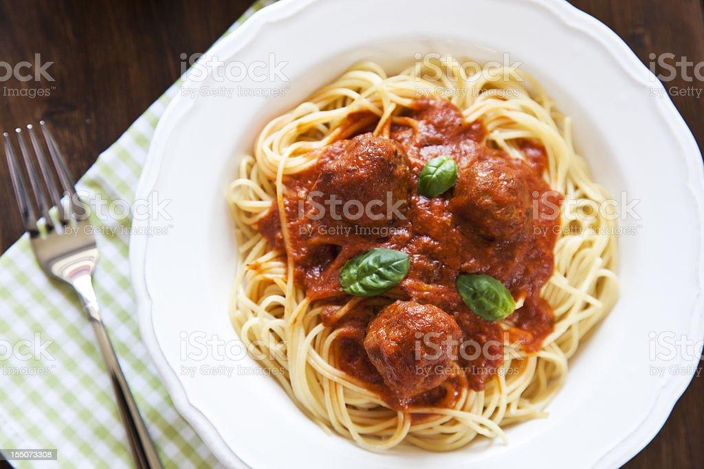 Spaghetti with meatballs stock photo