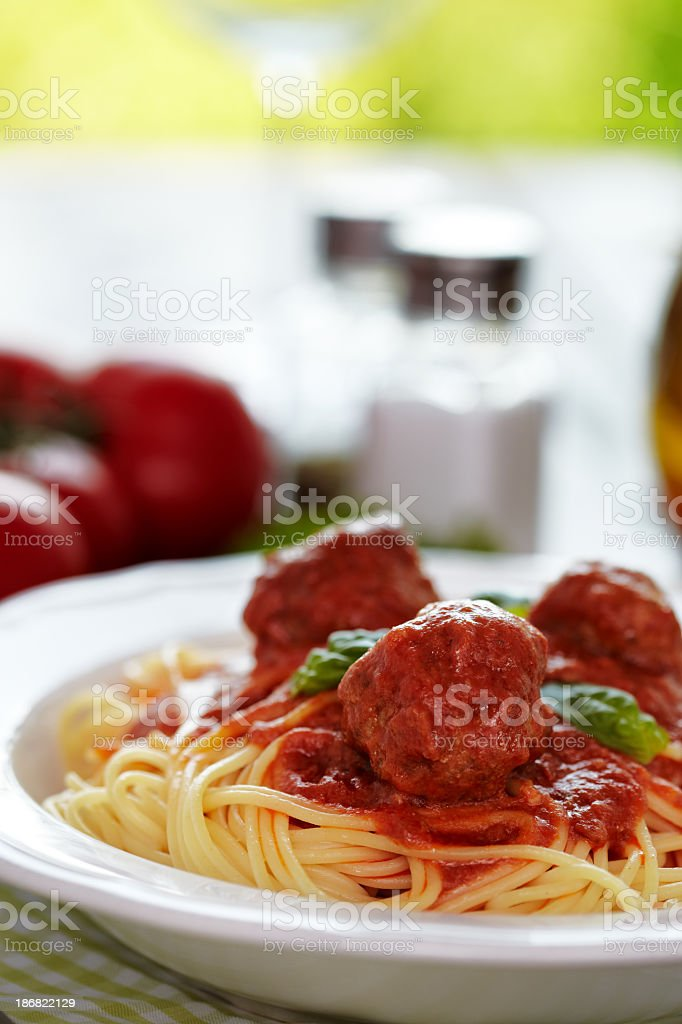Spaghetti with meatballs royalty-free stock photo
