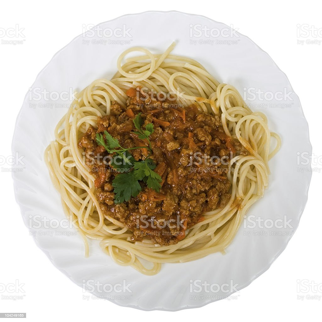 Spaghetti with meats royalty-free stock photo
