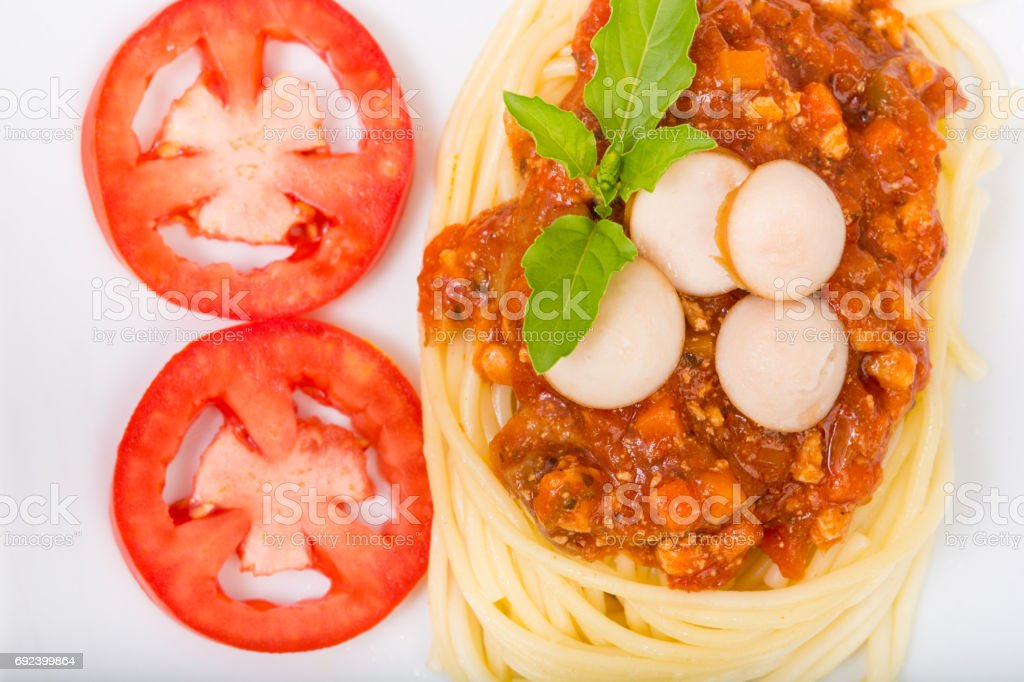 Spaghetti with minced meat and vegetables stock photo