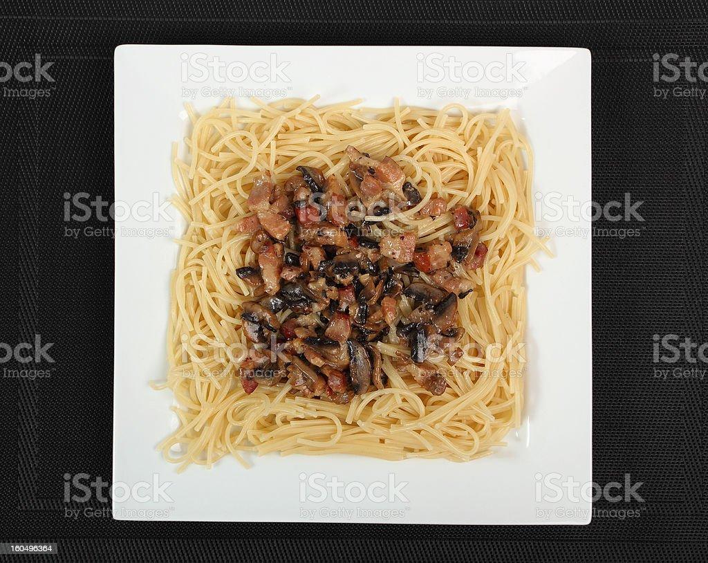 Spaghetti with Mushroom Sauce and Bacon stock photo