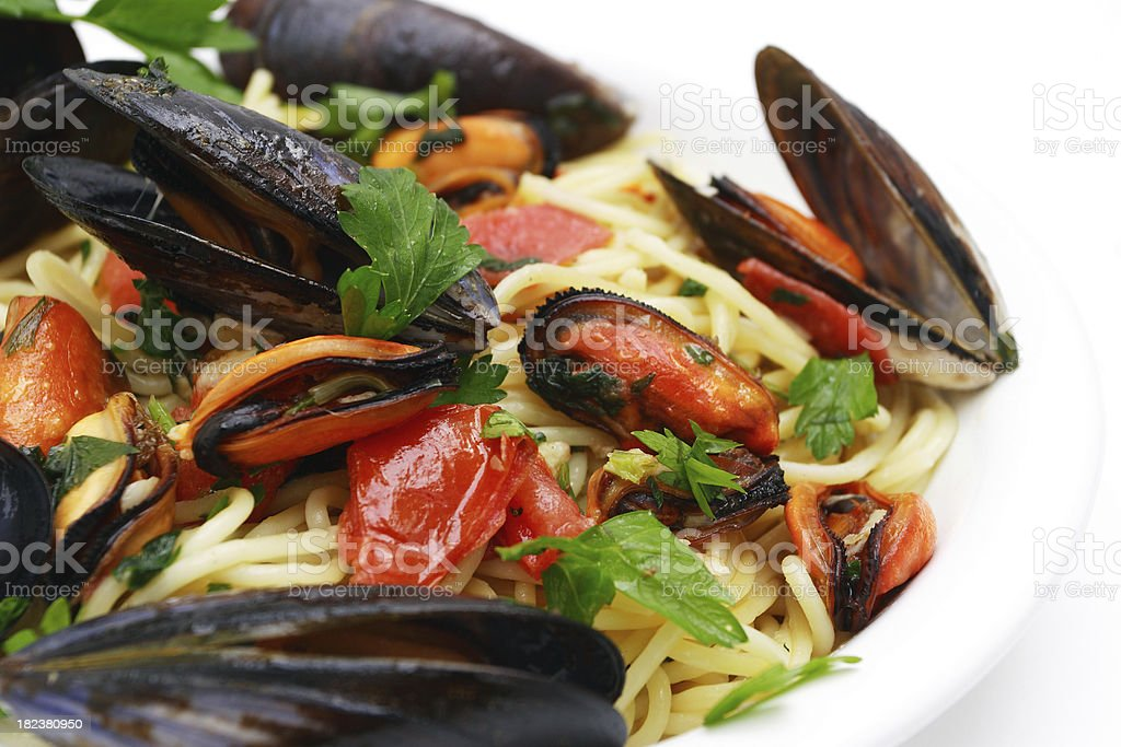 Spaghetti with mussels. royalty-free stock photo